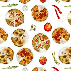 Italian pizza • watercolor pattern