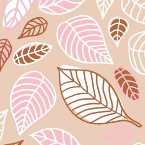 Sweet fall leaves woodland print autumn pink and copper JUMBO