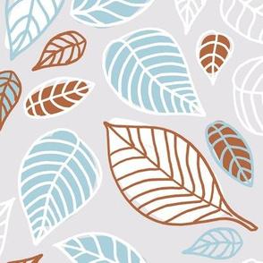 Sweet fall leaves woodland print autumn blue and copper JUMBO