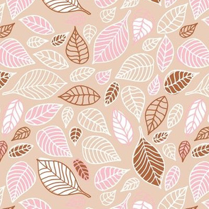 Sweet fall leaves woodland print autumn pink and copper Medium