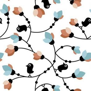 Cute little black birds and flowers cute garden design blue copper winter