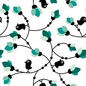 Cute little black birds and flowers cute garden design green mint