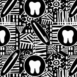 B&W Transitional Tooth / Dental Abstract / Toothbrushes