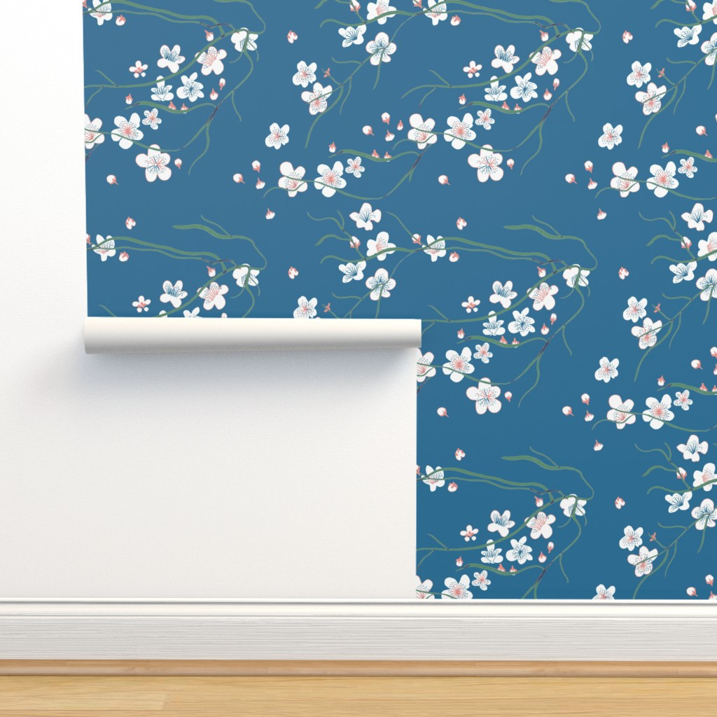 Isobar Durable Wallpaper featuring chinoiserie cherry blossom by claireybean