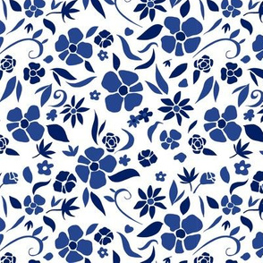 Navy Blue Floral on White