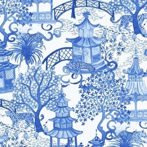 Leopard Pagoda Scenic in Blue