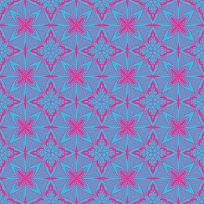 Tile, pink on light blue