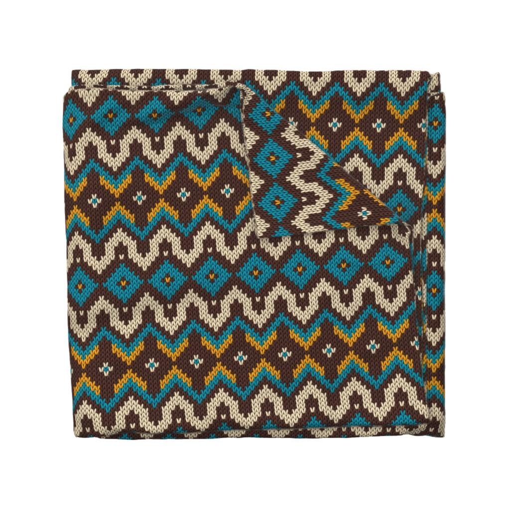 Wyandotte Duvet Cover featuring Modern knitted fair isle rows by danadu