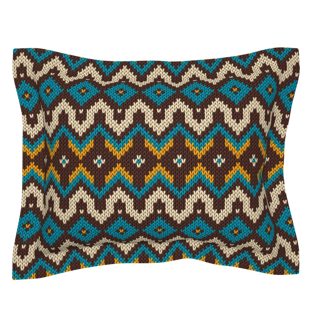 Sebright Pillow Sham featuring Modern knitted fair isle rows by danadu