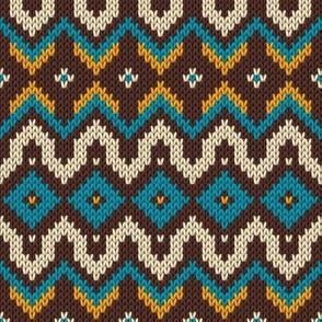 Modern knitted fair isle rows Fabric