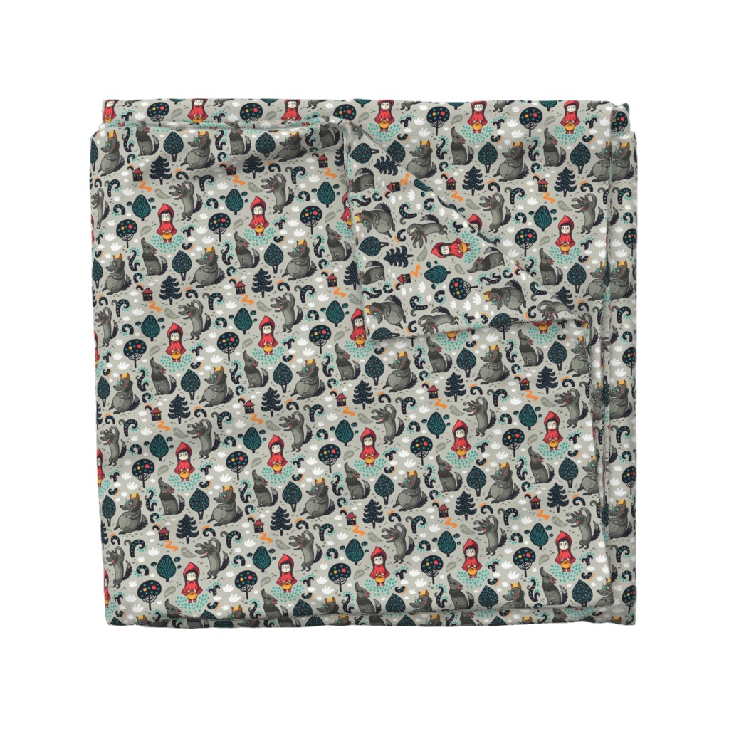 Wyandotte Duvet Cover featuring red riding hood by penguinhouse