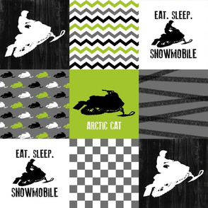 Eat Sleep Snowmobile//Arctic Cat//Lime - Wholecloth Cheater Quilt