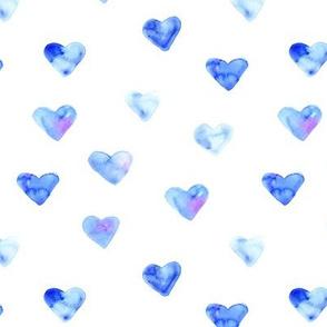 Blue hearts • watercolor love pattern