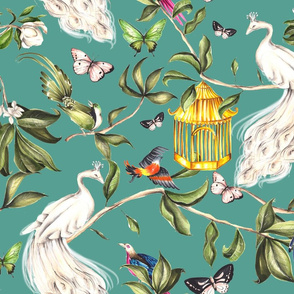 White Peacock Chinoiserie Turquoise