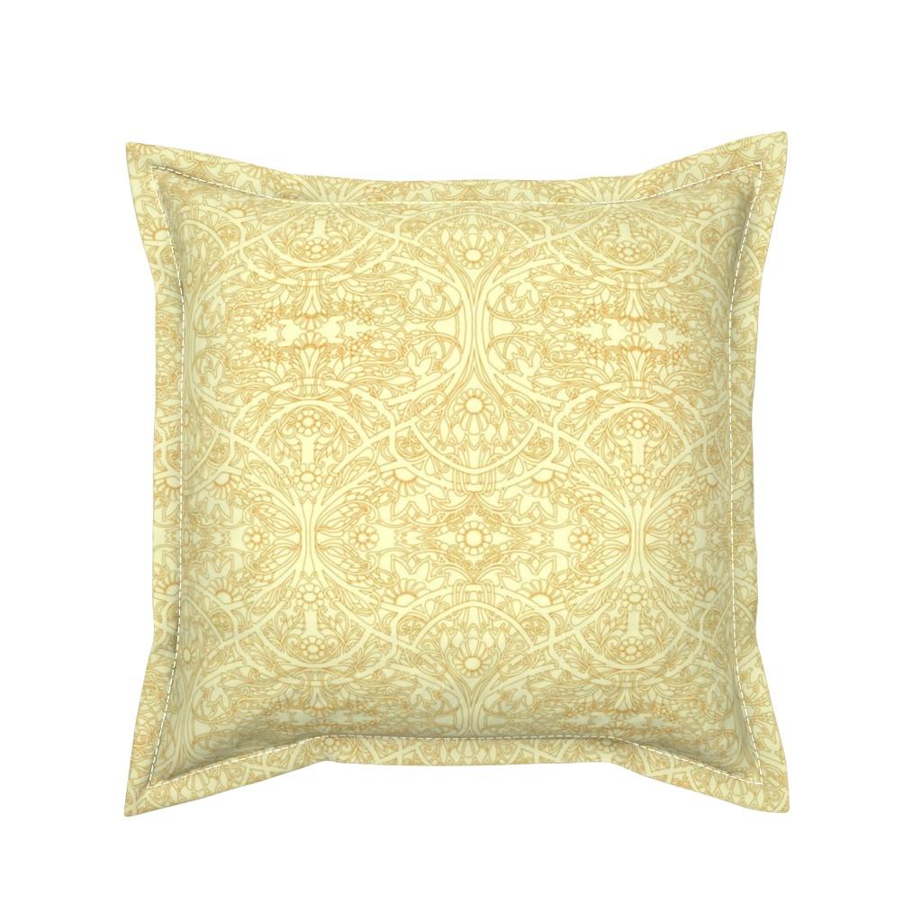 Serama Throw Pillow featuring Golden Garden by edsel2084