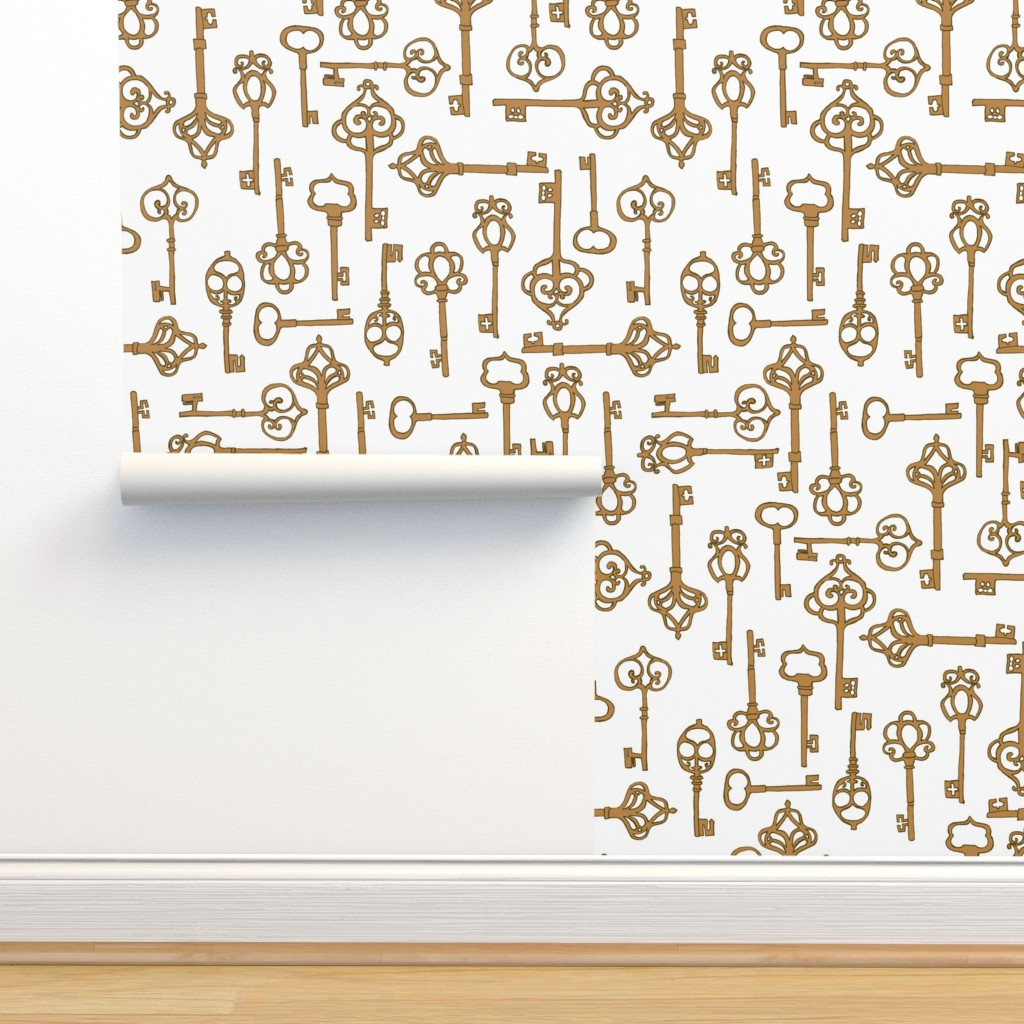 Isobar Durable Wallpaper featuring Antique Keys {Gold/White} by ceciliamok