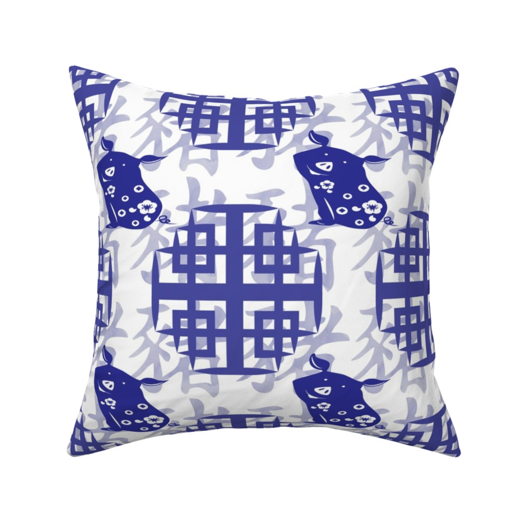 Catalan Throw Pillow featuring Year of the pig-2019 by krystalsavage
