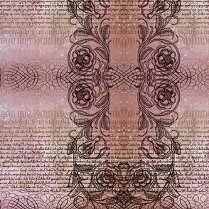 Just the text, scrollwork, and roses (rosy)