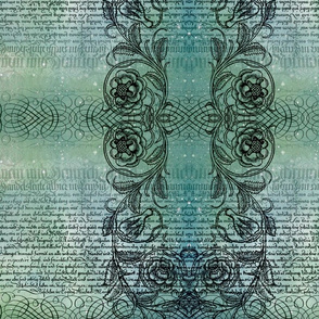 Just the text, scrollwork, and roses (teal)