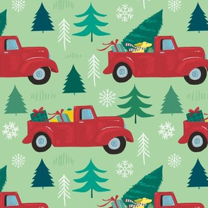 Christmas Red Truck & Dog