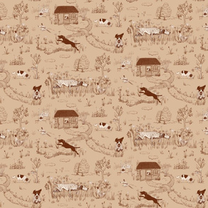 Bird Dog Toile Small Scale on Latte