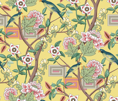 Parrots and Peonies Chinoiserie