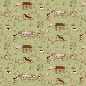 Bird Dog Toile Small Scale on Celery