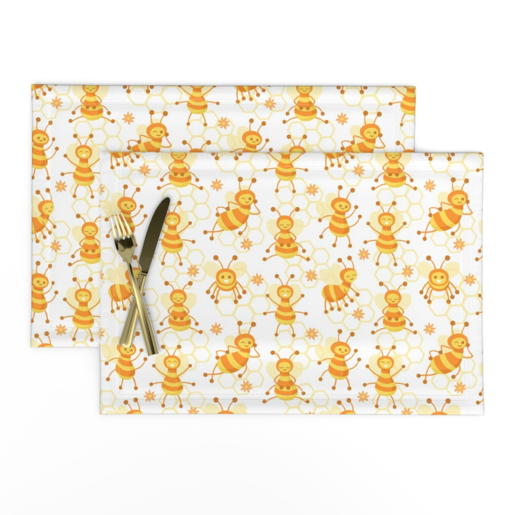 Lamona Cloth Placemats featuring Busy Bees White by sombrasblancas