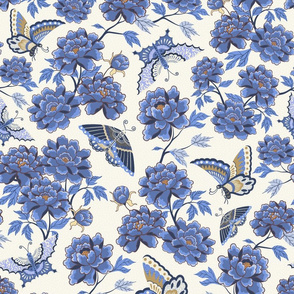 Peonies and butterflies - blue