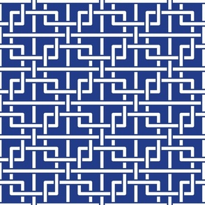 Chinese style tangled squares blue, white