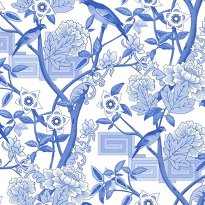 Parrots and Peonies Chinoiserie Blue