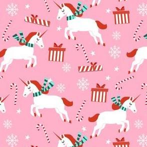christmas unicorn - christmas unicorn fabric, christmas fabric, christmas fabric by the yard, holiday fabric, xmas fabric, cute fabric, christmas design, funny christmas - light pink
