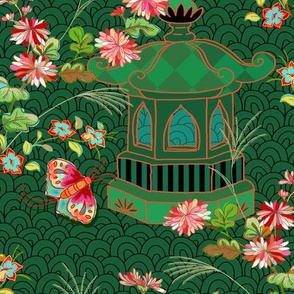chinoiserie with beauty symbol - emerald