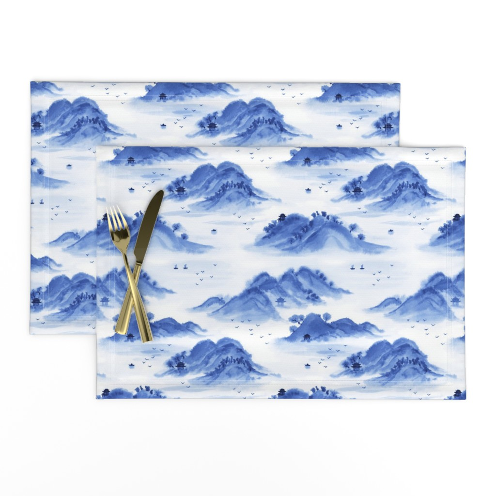 Lamona Cloth Placemats featuring Morning in the mountains by nadyabasos