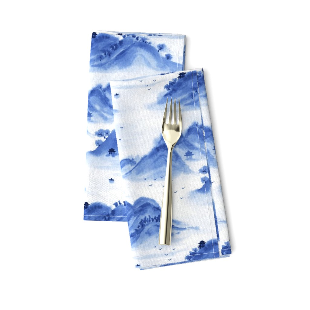 Amarela Dinner Napkins featuring Morning in the mountains by nadyabasos