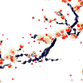 Plum tree chinoiserie wave XL