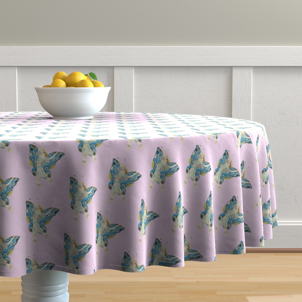 Malay Round Tablecloth featuring Vintage Fantasy Russian Fairy Dancer-ch by gypsea_art_designs