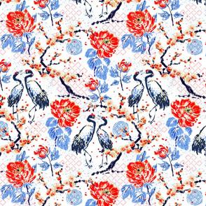 Romance of Cranes Chinoiserie