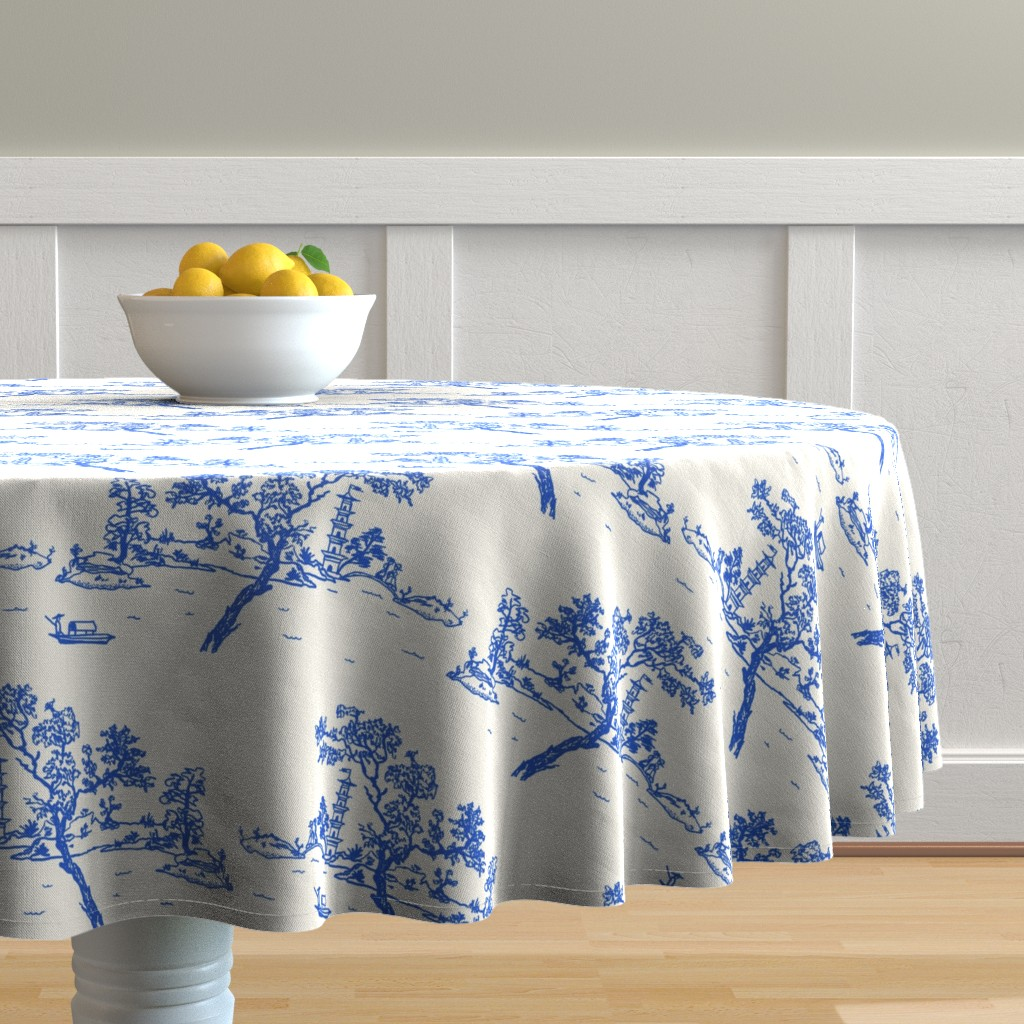 Malay Round Tablecloth featuring China scene with boat by Su_G_©SuSchaefer by su_g