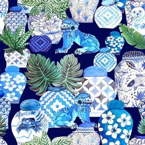 Chinoiserie Ginger Jar Collection In Blue and white