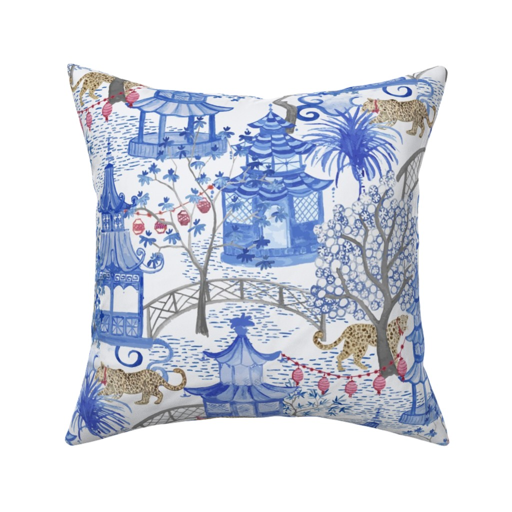 Catalan Throw Pillow featuring Party Leopards in the Pagoda Forest by danika_herrick