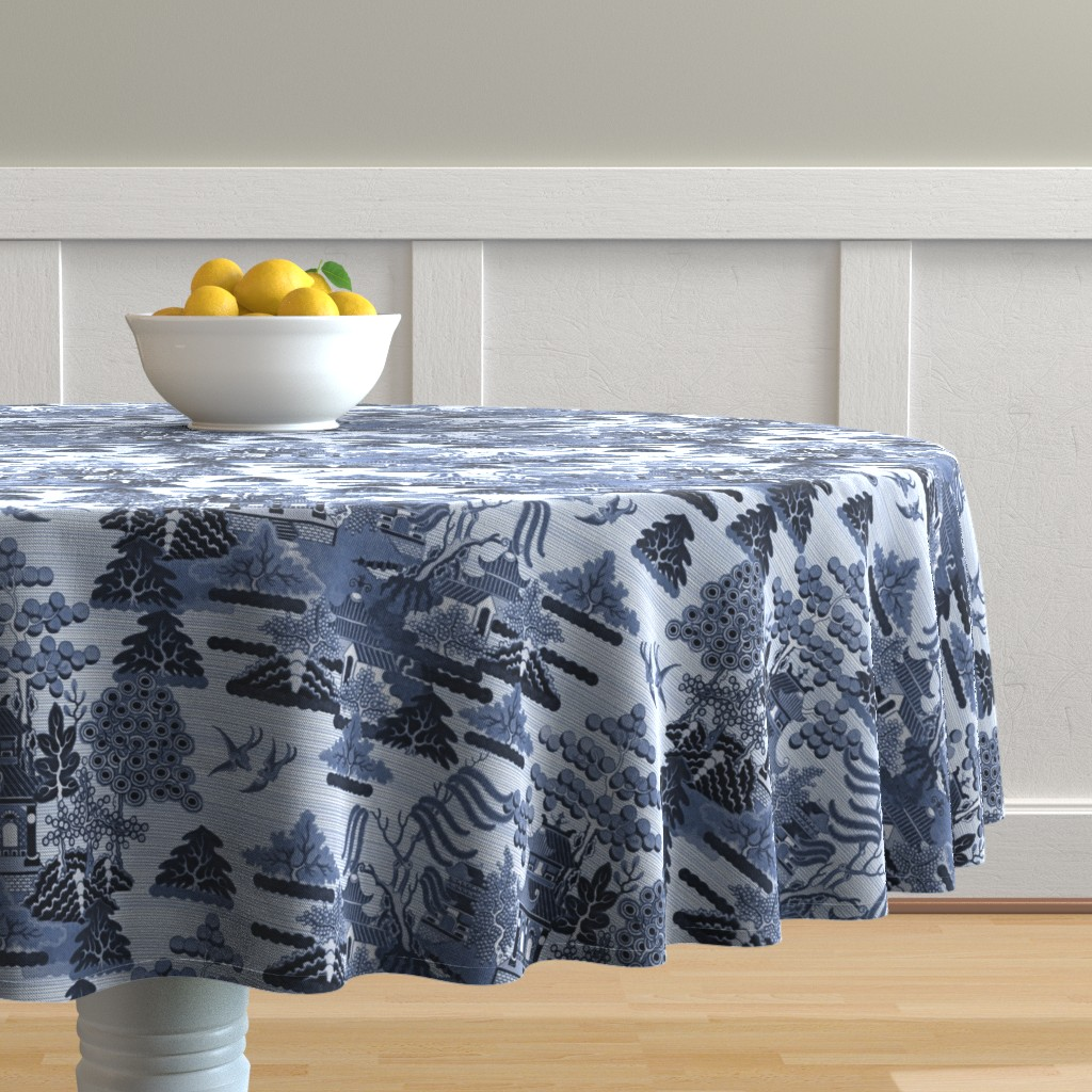 Malay Round Tablecloth featuring Antique Chinoiserie by elramsay