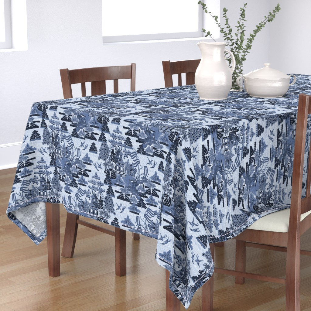 Bantam Rectangular Tablecloth featuring Antique Chinoiserie by elramsay