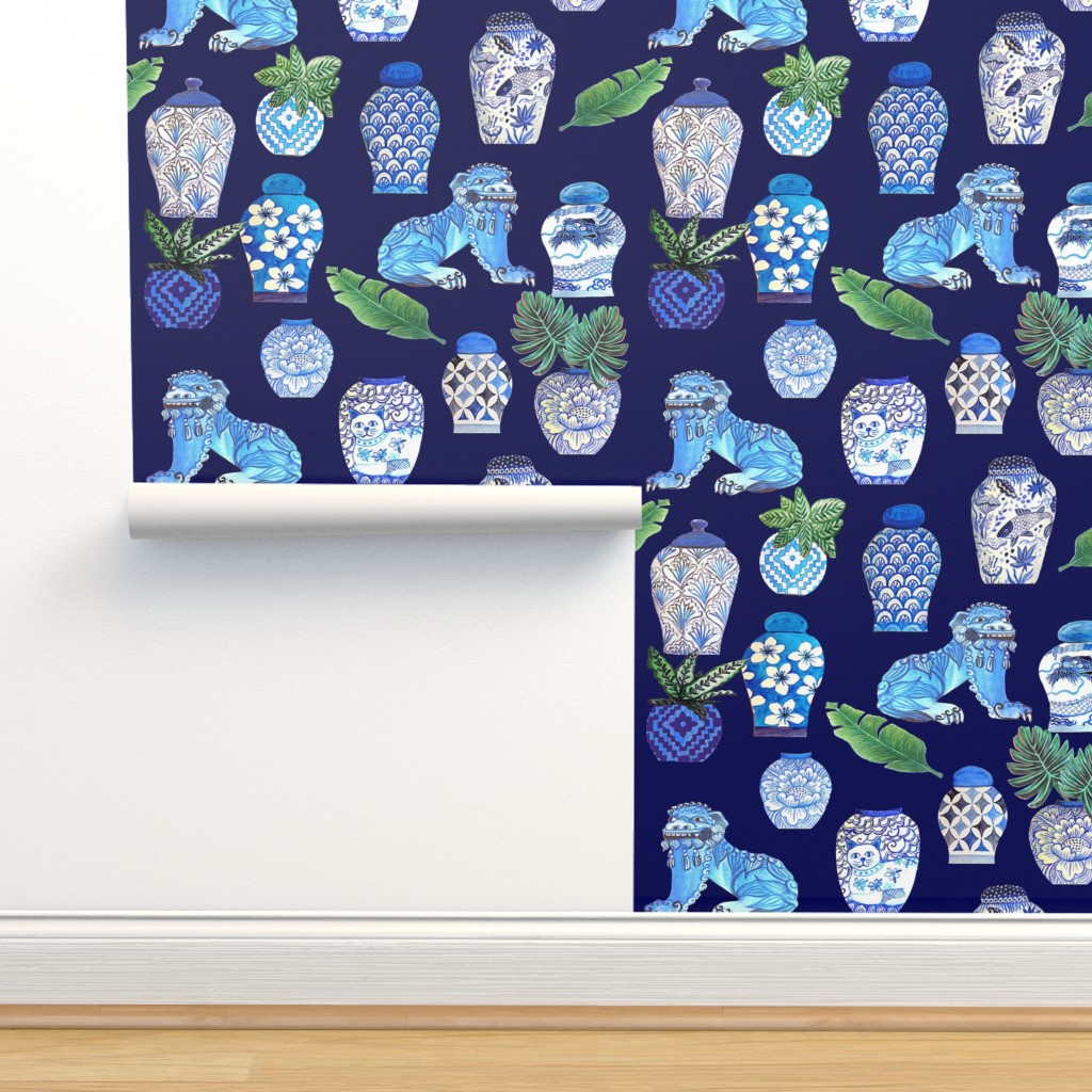 Isobar Durable Wallpaper featuring  Chinoiserie Ginger jars & Foo dogs, blue and white. by magentarosedesigns