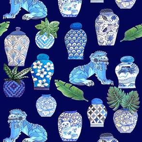 vintage vase,  Chinoiserie Ginger jars & Foo dogs, blue and white.