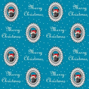 christmas french bulldog fabric