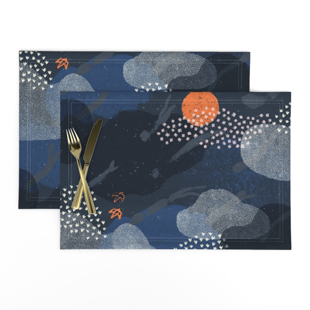 Lamona Cloth Placemats featuring Moonlight Forest by Friztin by friztin