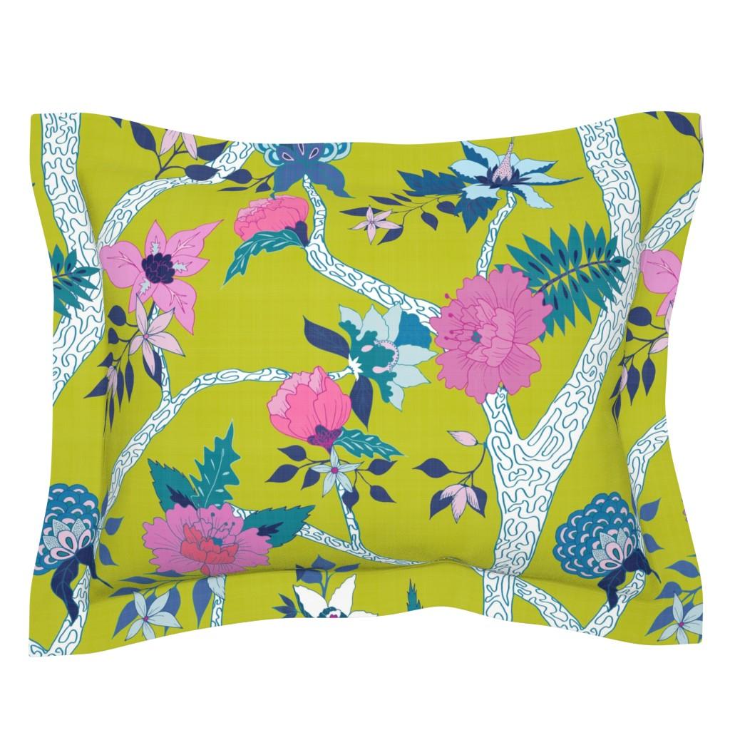 Sebright Pillow Sham featuring Deluxe Citron Peony Branch Mural by danika_herrick