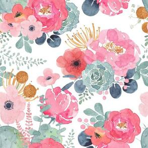 Succulent Bouquet - Pink & White Watercolor Floral - Large