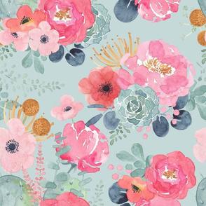Pink Watercolor Peonies and Succulents - Aqua - Large